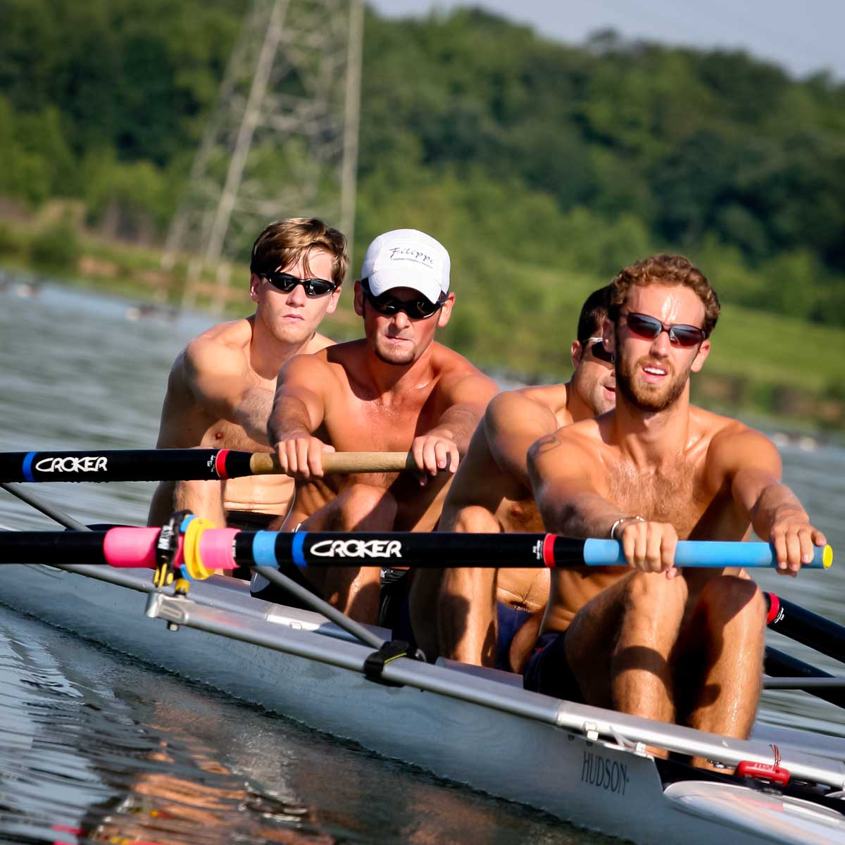 Lightweight rowers training at Lake Mercer